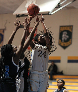 January 25, 2019: Laurel forward Marissa Steel (24) shoots over Northwestern defenders during high school girls basketball action between Northwestern HS and Laurel HS in Laurel. Photo by: Chris Thompkins/Prince Georges Sentinel