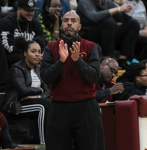 "February 2, 2019: McNamara head coach Keith Veney cheers on his team after making game winning free throws during HS boys basketball action between Bishop O'Connell HS and Bishop McNamara HS in Forestville. Photo by: Chris Thompkins/Prince George""s Sentinel"