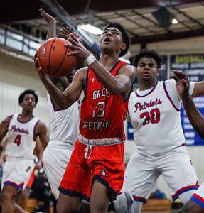 January 11, 2020: Grace Brethren Braxton Crumpton (13) goes for an layup during HS boys basketball action between Grace Brethren Christian School and Friendly HS in Upper Marlboro, MD.  Photos by Chris Thompkins/Prince Georges Sentinel