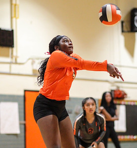 October 3, 2019: Duval Ellycia Smalley (4) hits the ball during HS volleyball action between Northwestern HS and Duval HS in Lanham, MD. Photos by Chris Thompkins/Prince Georges Sentinel