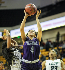 March 15, 2019: Pikesville guard Tyra Robinso (4) goes for a layup during MPSSAA girls basketball 1A Semifinal matchup between Pikesville HS and Largo HS in Towson. Photo by: Chris Thompkins/Prince Georges Sentinel