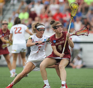 May 26, 2019: Boston College attacker Kenzie Kent (4) is defended by Maryland defender Meghan Doherty (6) during NCAA Womens Lacrosse Championship matchup between Boston College and University of Maryland in Baltimore. Photos by Chris Thompkins/Prince Georges Sentinel