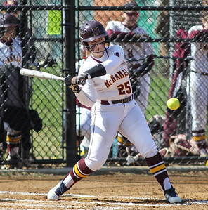 April6, 2019: McNamara catcher Lindsey Bayes (25) gets a base hit during HS girls softball action between St Johns College HS and Bishop McNamara HS in Forestville. Photo by: Chris Thompkins/Prince Georges Sentinel