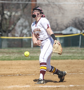 April 6, 2019: McNamara pitcher Bailey Wilcox (2) pitches an strike during HS girls softball action between St Johns College HS and Bishop McNamara HS in Forestville. Photo by: Chris Thompkins/Prince Georges Sentinel