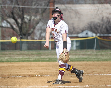April 6, 2019: McNamara pitcher Bailey Wilcox (2) pitches another strike during HS girls softball action between St Johns College HS and Bishop McNamara HS in Forestville. Photo by: Chris Thompkins/Prince Georges Sentinel