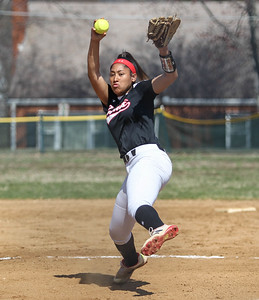 April6, 2019: St Johns pitcher Raye Thomas (14) pitches an strike during HS girls softball action between St Johns College HS and Bishop McNamara HS in Forestville. Photo by: Chris Thompkins/Prince Georges Sentinel
