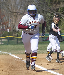 April6, 2019: McNamara first baseman Ndeyah Vaughan (18) runs to home plate for a score during HS girls softball action between St Johns College HS and Bishop McNamara HS in Forestville. Photo by: Chris Thompkins/Prince Georges Sentinel