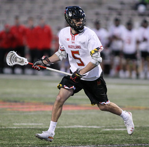 March 31, 2019: Maryland midfielder Will Snider (5) looks for an open teammate during NCAA Mens lacrosse action between Penn State and the University of Maryland in College Park. Photo by: Chris Thompkins/Prince Georges Sentinel