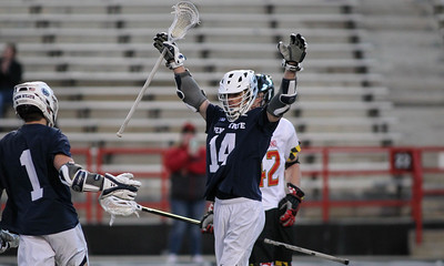 March 31, 2019: Penn State attacker Dylan Foulds (14) celebrates after scoring a goal during NCAA Mens lacrosse action between Penn State and the University of Maryland in College Park. Photo by: Chris Thompkins/Prince Georges Sentinel