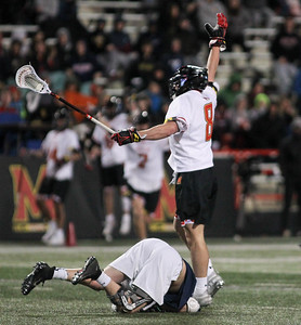 March 31, 2019: Maryland midfielder Roman Puglise (8) celebrates after scoring an goal during NCAA Mens lacrosse action between Penn State and the University of Maryland in College Park. Photo by: Chris Thompkins/Prince Georges Sentinel