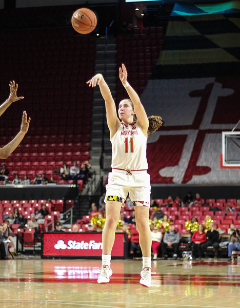 January 20, 2019: Maryland guard Taylor Mikesell (11) shoots a three pointer during Big Ten womens basketball action between Penn State and University of Maryland in College Park. Photo by: Chris Thompkins/Prince Georges Sentinel