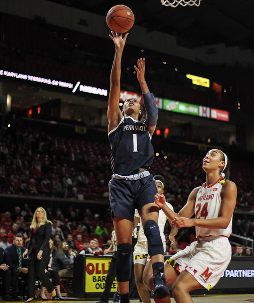 January 20, 2019: Penn State forward Alisia Smith (1) attempts a shot over Maryland forward Stephanie Jones (24) during Big Ten womens basketball action between Penn State and University of Maryland in College Park. Photo by: Chris Thompkins/Prince Georges Sentinel