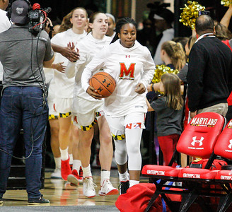 January 20, 2019: Maryland guard Channise Lewis (3) leads the terps on the court before Big Ten womens basketball action between Penn State and University of Maryland in College Park. Photo by: Chris Thompkins/Prince Georges Sentinel