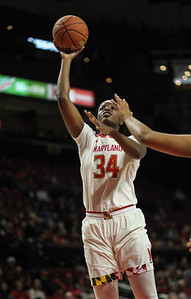 January 20, 2019: Maryland forward Brianna Fraser (34) attempts an layup during Big Ten womens basketball action between Penn State and University of Maryland in College Park. Photo by: Chris Thompkins/Prince Georges Sentinel