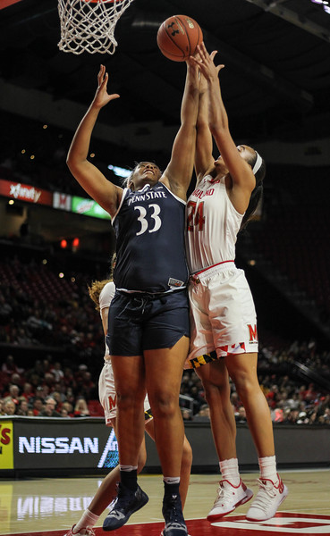 January 20, 2019: Penn State forward Lauren Ebo (33) and Maryland forward Stephanie Jones (24) tries to grab a rebound during Big Ten womens basketball action between Penn State and University of Maryland in College Park. Photo by: Chris Thompkins/Prince Georges Sentinel