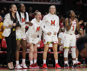 January 20, 2019: Maryland players celebrate after a three point shot during Big Ten womens basketball action between Penn State and University of Maryland in College Park. Photo by: Chris Thompkins/Prince Georges Sentinel