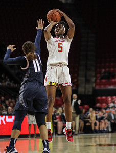 January 20, 2019: Maryland guard Kaila Charles (5) shoots a jump shot over Penn State guard Teniya Page (11) during Big Ten womens basketball action between Penn State and University of Maryland in College Park. Photo by: Chris Thompkins/Prince Georges Sentinel