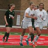 Ronni Norwood (22) and Paige Kleinknecht celebrate the Falcons' first goal. Host Divine Child defeated Allen Park in a non-league soccer match on Tuesday, May 2, 2017. (MiPrepZone photo gallery by Terry Jacoby)