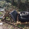 12.31.2015, Jon Merryman, Cedar Run/Leslie Ave., Catonsville, Balto. Co.. 1TV, 2 tires, lumber, etc. and the cat lady trash is all over the place again after I cleaned it all up in the fall.  Estimated weight is 170  lbs.