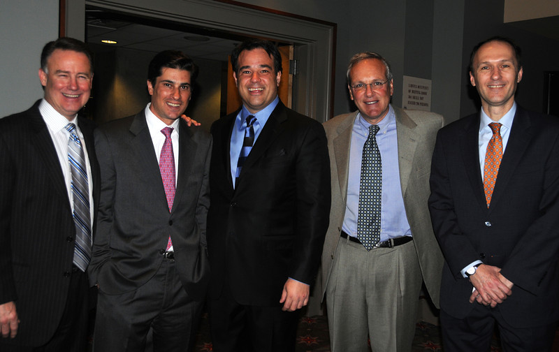 Phila Auto Show Tasting Party<br /> L-R - Joe Magarity, Scott Lustgarten, Kevin Mazzucola with Dr. Stephen Altschuler President and CEO of CHOP, and Robin Austin, Director of Development at CHOP