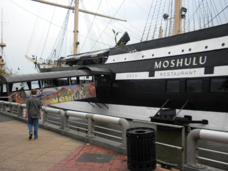 Dinner on board a sailing vessell restuarant called the Moshulu moored at Penn's Landing in Philadelphia: Moshulu Restaurant & Bar, 401 S. Columbus Blvd., Philadelphia, PA