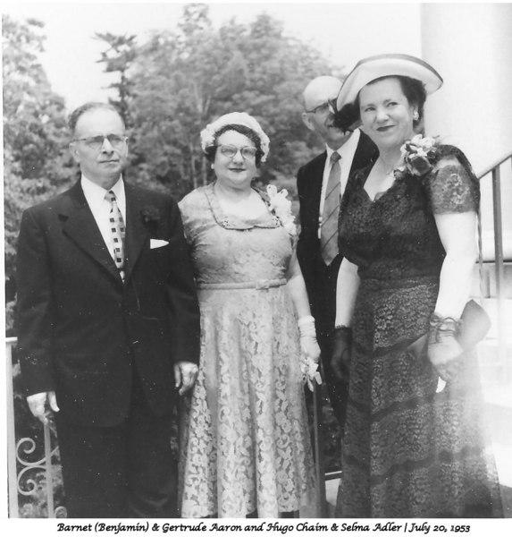 L-R | Barnie & Gertrude Aaron; Hugo Chaim & Selma Adler, 1953
