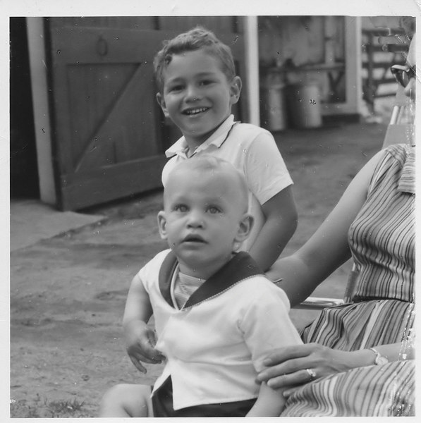 David & Richard on Mom's lap, at the Schiff Family Farm in Bloomfield, CT, probably 1961.