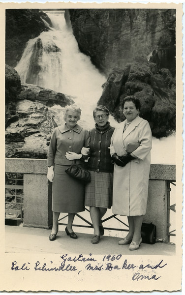 Three Mannheim grammar school classmates, Sali Schindler (mother of Rabbi Alexander Schindler), Mrs. Baker, and Selma Adler, in Gastein 1960 (one of their first Europe reunions).