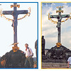 The left photograph was taken in Prague, Spring 1985, probably by Karina Lenhardt; the right photograph was taken by Joshua during out trip in August 2005.  Notice that the eagle is missing from the pedestal in the more recent photograph.