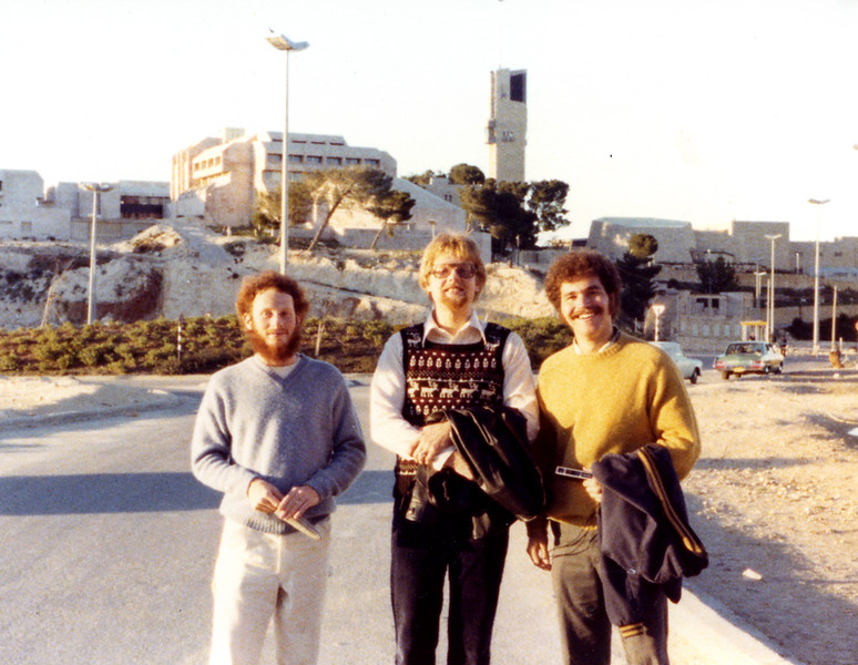 Daniel Sachs, Johannes Christoph von Buehler, and I, standing on the southern edge of Mt. Scopus, 1977.