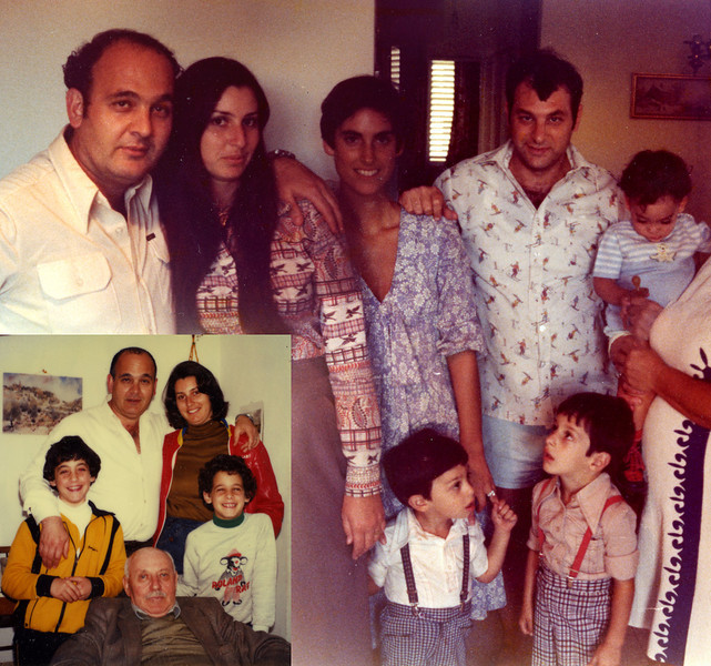"My Jersualem family: (l-r) Mouli, Edna; Jackie & Yehuda (Mouli's brother); Eran in Simcha's arms. Guy & Yoav are standing. The inset photo shows Mouli, Edna, Eran (l) and Amir, standing on either side of Kurt ""Dave"" Rothschild, my Oma's first cousin. My entire experience of Jerusalem that year would have be altogether different were it not for the remarkable graciousness of Edna, Mouli, and Dave. They all occupy a very important place in my heart."
