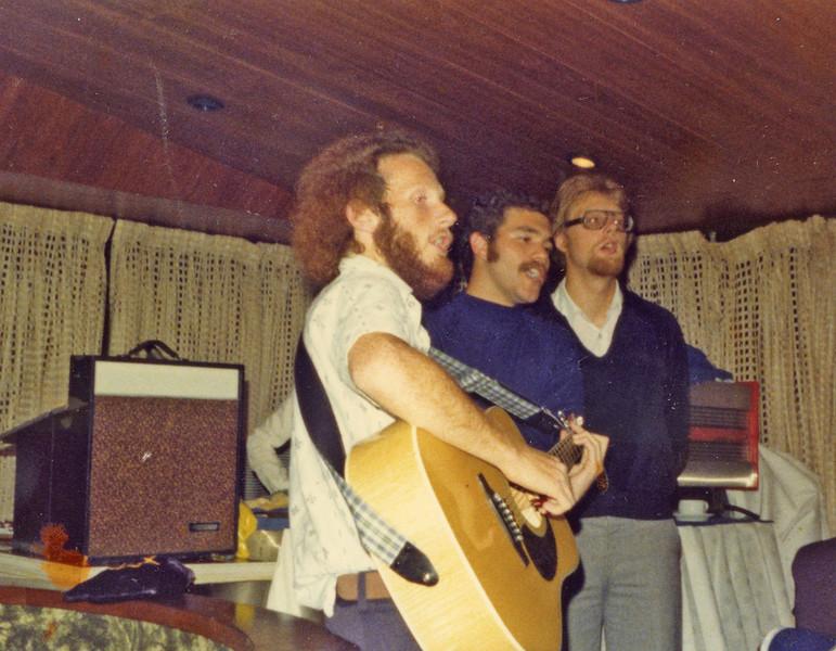 (l-r) Winter 1977 (February) Daniel Sachs, dha, Johannes Christoph von Buehler, singing for a Federation Mission (Beth Kraemer's parents were participants? organizers?).