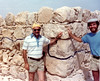 Ron was usually behind the camera, so here's a rare moment on the other side of the lens. We are at Masada. The line shows the point from which reconstruction begins. October 1976.