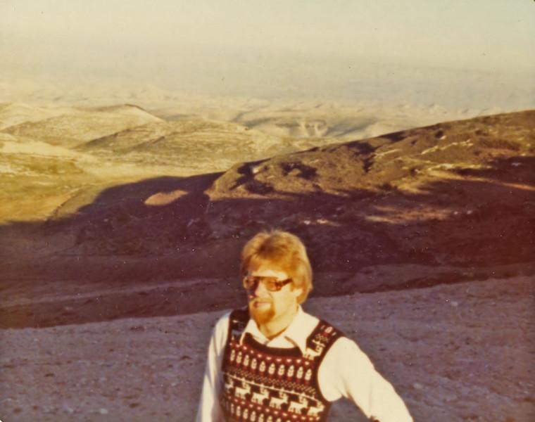 Johannes Christoph von Buehler, behind Har Hatzofim campus (winter) 1977, looking eastward toward the Dead Sea.