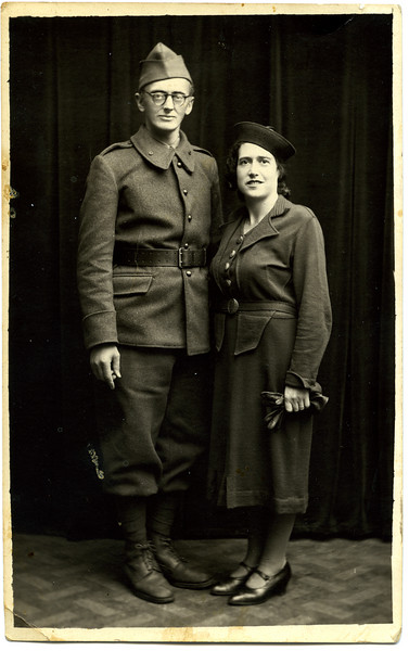 "Arthur Adler and Margot (?), probably not yet wed, in Bellac, France, 12 November 1940.  Little is known about their years in France during the war.  They both assumed aliases, and until his death, Margot called Arthur ""Pierre"" when they were not with others, which is the identity he assumed during the war.  I visited them in Lugano in 1978; I returned in 1985, not long after Arthur's death.  [ArcAdler 0013]"