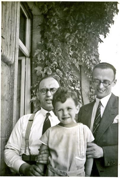 (l-r) Hugo Chaim Adler (1894-1955), Hans-Samuel Adler (b.1928), with Hugo's younger brother, [Max] Arthur Adler  [ArcAdler 0023]