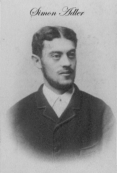 "This photo is the earliest image we have of Simon Adler (b.2 Dec 1860, Hoeringhausen; d. 25 Oct 1909).  Now for some of his genealogy.<br /> <br /> Isaak Adler was born in 1792 and died on 6 April 1862.  He married Hanne Sulzbaechen (b. 1795; d.19 Apr 1850) on 3 Dec 1823.  They had 12 children.  <br /> <br /> Baruch (b.27 Apr 1826-14 Nov 1902) married Liebchen Boehm on 20 Feb 1852.  She was born to Hirsch Boehm and Sara [Katzenstein] 16 Nov 1827. Isaak was either born in or brought to Hoeringhausen, Germany, c. 1793, which is in the region of Waldeck, 30km west of Kassel (Hessen-Nassau).  Town records indicate that he was a ""Schuhmachermeister,"" a ""Master Shoe Maker.""  Family lore also maintains that he was a Cantor.  <br /> <br /> Simon's parents, Baruch & Liebchen, had eleven children. Abraham (13 Nov 1852; d.22 Nov 1852); Gersom (b.6 Oct 1853; d.?); Hannchen (b.16 Oct 1854; d. in Gurs KZ), married Yitzak Frankenthal; Jettchen (8 Dec 1855; d. 13 Jan 1856); Schafte (b.25 Dec 1856; d. 23 Jul 1943 Sobibor KZ); Schaenchen [Jeanette] (b. 30 Jun 1858) married a Rosenbusch and descendants of this family now live in Israel (we have a correspondence between Barukh's granddaughter, Hilda, and ""Ike"" Rosenbusch--see photos of Hilda below); Malchen (b.3 Aug 1859); Simon (b.02 Dec 1860; d. 25 Oct 1910); Isaak (09 Jul 1862; d. 01 Nov 1862); Roeschen [Recha] (b.21 Sep 1863; on deportation list from Netherlands); Fanni (b.27 May 1865).<br /> [ArcAdler 004]"