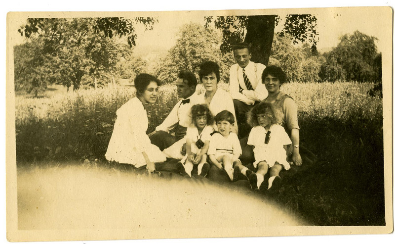 This photo was part of an old Adler photo album, but the identity of the people here is uncertain.  The woman to the far left could be Hulda as an adolescent. We will continue to try to establish the identities.  [ArcAdler 0015]