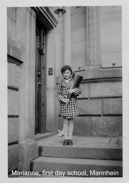 "Marianne Adler, Mannheim 1936.  The tradition was to give children a cone of ""goodies"" to make their first day of school sweet!  [ArcAdler 0029]"