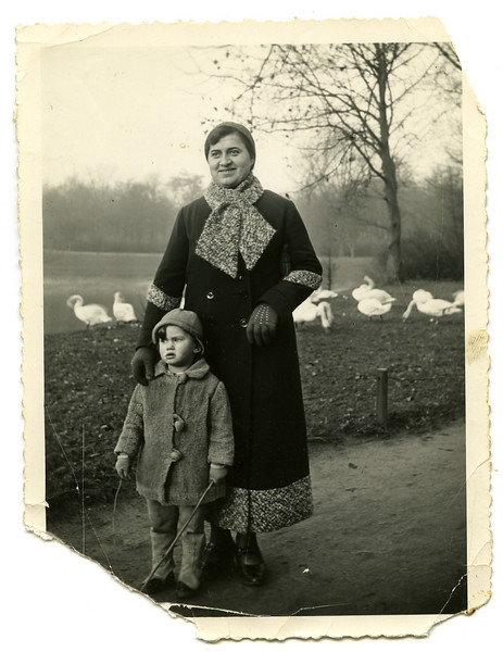 in Mannheim, Marianne Adler and her nanny, Anna, probably 1933.  [ArcAdler 0027]