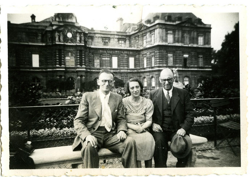 Arthur, Ida, Hugo, the youngest of the Adler eight sibilings (undated)  (partial restoration).  Ida was born in Hoeringhausen 3 May 1897; Arthur was born there as well, 12 Feb 1899.  Soon after Arthur's birth, his parents relocated to Harburg in northern Germany.  His father, Simon, died in 1911.  Arthur, as the only unwed son, would take his mother, Emma, with him to Madrid during the early 1930s, where he opened a bookstore.  The Civil War broke out in July of 1936, at which point he appears to have returned to Germany for a short while.  Emma Adler is buried in Madrid. [ArcAdler 0017]