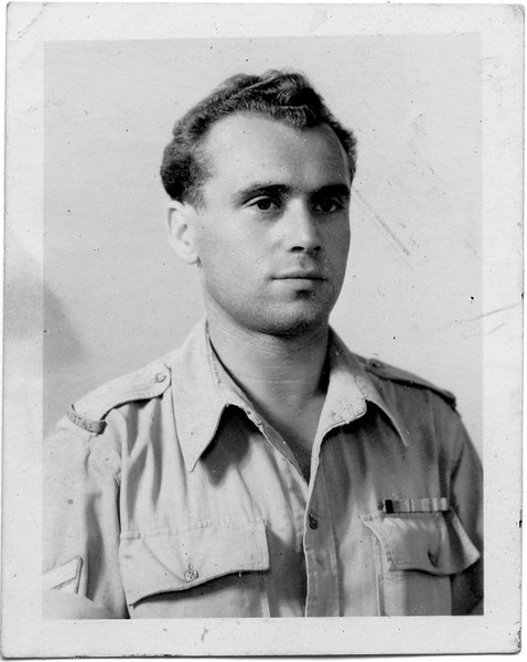 "Shimon Adler, British Army, Palestine, back of photo reads: ""I certify that this photo is a true likeness of Mr. Siegbert Adler,"" signed J. Manor 18/6/46.   [ArcAdler 0035]"