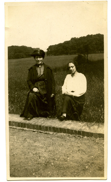 "(r) Ida Adler (b.3 May 1897; d. late 1980s), with her sister, Hulda Adler.  Date on back: 1 Juni 1924, ""Huldshen + Ida""  In this photo, Hulda would have been 36 years old; Ida 27.  Neither sister married.  [ArcAdler 0016]"