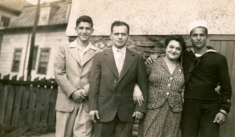 L-R, Ronald, Barney, Gertrude, Hugh Aaron, 1943