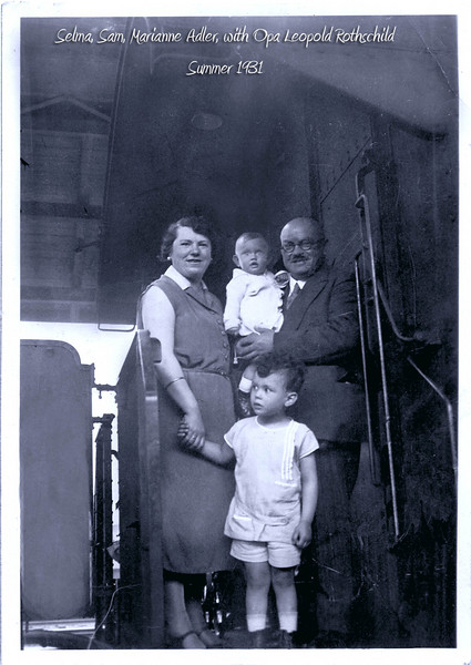 RS027 | Selma (Rothschild) Adler (1900-1982), with son Samuel and daughter, Marianne in grandfather's arms, Leopold Rothschild, Summer 1931.