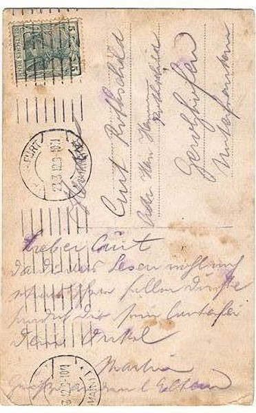 """RS034b   reverse side of previous photo, indicates the date of 1921, addressed to """"Curt Rothschild""""  [ArcAdler 0034]"""