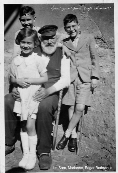 "RS004 | Joseph Rothschild (b. 01 Jan 1850; d. 1942 or 43 in Amsterdam, killed by Nazis) with great-grandchildren, Sam Adler (top left) Edgar Rothschild (right), Marianne Adler on lap; circa 1934.<br /> <br /> There were, apparently, more ""Rothschilds"" in Hoerstein than just Joseph and his clan.  For instance, we read in an article in the newspaper, ""The Israelite,"" of 3 Juli 1924: ""Hörstein bei Aschaffenburg, 1. Juli (1924): Das Ehepaar David Oppenheimer und Frau Esther geborene Rothschild feierten am Samstag, den 21. Juni, in körperlicher und geistiger Frische im Kreise ihrer Kinder und Enkel das Fest der Goldenen Hochzeit."" [the married couple, David Oppenheimer and Mrs. Esther nee Rothschild, celebrate on Saturday, the 21 of June, in the physical and spiritual company of their children and grandchildern, their Golden Wedding Anniversary].<br /> <br /> Based on another article in the same paper, Esther celebrated her 80th birthday in 1933, meaning she was born in 1853, perhaps a younger sister of Joseph. More research is required. Yad Vashem lists yet an other ""Joseph/Josef"" Rothschild born in 1891."