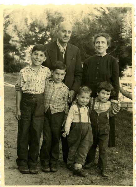 RS041 | Alfred & Lina [Linchen] Rothschild, parents of Walter (Mordecai) Rothschild.  These are their grandchildren, Danny, Eitan, and twins, Yoav and Elisheva, in Israel, circa 1959.
