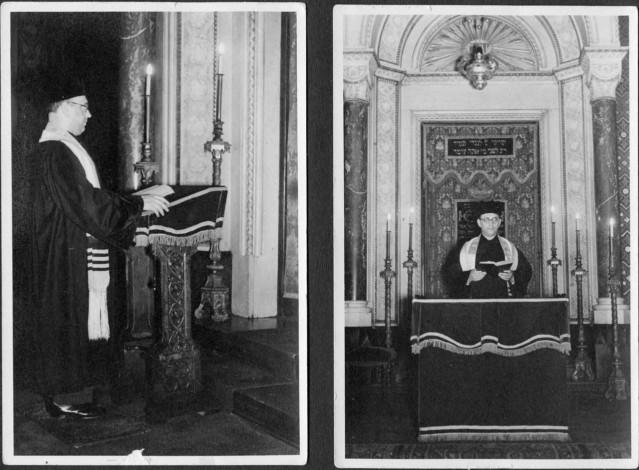 Hugo Chaim Adler, Obercantor of the Mannheim synagogue (c. 1936).  You can see how accurately the 19th century drawing renders the interior.  In the right photograph, Adler is standing in the very place depicted in the drawing above.<br /> <br /> In 1938 there were approximately 6,000 Jews in Mannheim.