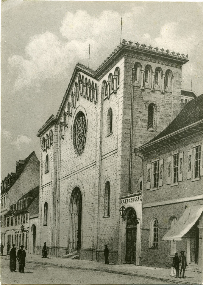 "1869 rendering of the Mannheim Synagogue, held by the Stadtarchiv Mannheim (Bildsammlung 15355).<br /> <br /> The first known synagogue to be built in Mannheim was under the concession of Karl Ludwig during the 1660s.  Its exact location is uncertain.  The second synagogue to be built in 1670 was situated at F2, 13/15 (originally, ""Quadrat 39, Nr.6"").  This building was destroyed in 1689 when the city of Mannheim was sacked by the French.  <br /> <br /> The third synagogue, built on the same site, was completed in 1700.  This structure was insufficient with the influx of Jews to Mannheim during the early 19th century.  Plans to build a completely new synagogue were commenced in 1851, starting at F2, 13. The building was dedicated in 1855.  It would undergo numerous renovations, including the construction of an organ and choir loft (1899), and further renovations in 1907.  In Mannheim's 1919 Adressbuch der Stadt (city address book), the F2, 13/15 synagogue is referred to as the ""Hauptsynagoge,"" or ""Main Synagogue"" of the city, however, there was another synagogue, the ""Klaussynagoge,"" which remained orthodox.  The Hauptsynagoge, while fundamentally orthodox in practice (separate seating for men & women, etc.), included sermons in the vernacular along with other liberalizations.  <br /> <br /> The building was destroyed during the Nazi pogrom known as Kristallnacht (""Night of Glass""), 10 November 1938.  The photographs that follow show the building in ruins.  We do not know who took these pictures or how they found their way into my grandfather's possession.  If you have pictures of this structure, or know anything about these photographs, please contact me."